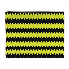 Yellow Black Chevron Wave Cosmetic Bag (xl)