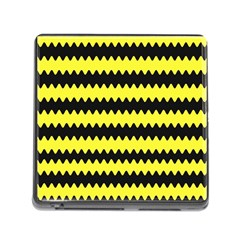 Yellow Black Chevron Wave Memory Card Reader (square)