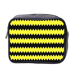 Yellow Black Chevron Wave Mini Toiletries Bag 2 Side