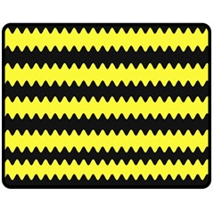 Yellow Black Chevron Wave Fleece Blanket (medium)