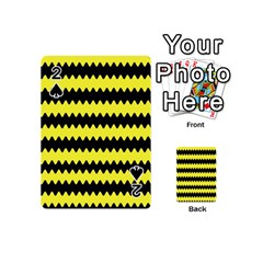 Yellow Black Chevron Wave Playing Cards 54 (mini)