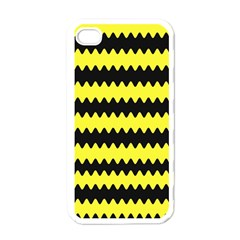 Yellow Black Chevron Wave Apple Iphone 4 Case (white)