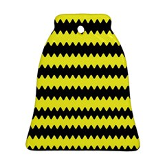 Yellow Black Chevron Wave Bell Ornament (two Sides)