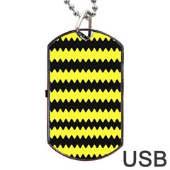 Yellow Black Chevron Wave Dog Tag Usb Flash (two Sides)