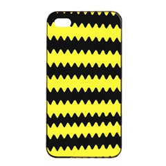 Yellow Black Chevron Wave Apple Iphone 4/4s Seamless Case (black)