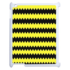 Yellow Black Chevron Wave Apple iPad 2 Case (White)