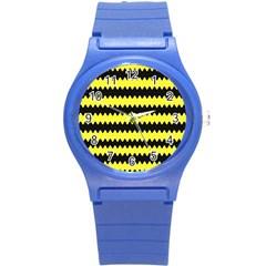 Yellow Black Chevron Wave Round Plastic Sport Watch (s)
