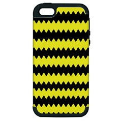 Yellow Black Chevron Wave Apple Iphone 5 Hardshell Case (pc+silicone)