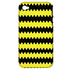 Yellow Black Chevron Wave Apple Iphone 4/4s Hardshell Case (pc+silicone)