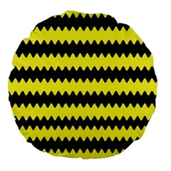 Yellow Black Chevron Wave Large 18  Premium Round Cushions