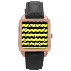 Yellow Black Chevron Wave Rose Gold Leather Watch