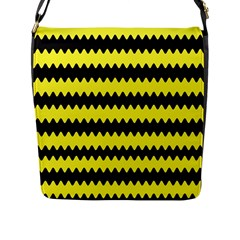 Yellow Black Chevron Wave Flap Messenger Bag (l)
