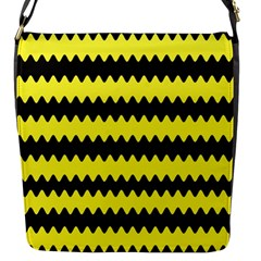 Yellow Black Chevron Wave Flap Messenger Bag (s)