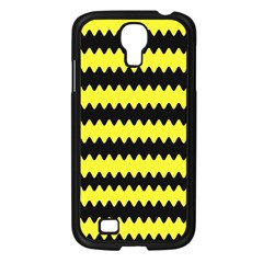 Yellow Black Chevron Wave Samsung Galaxy S4 I9500/ I9505 Case (black)