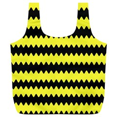 Yellow Black Chevron Wave Full Print Recycle Bags (l)