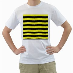 Yellow Black Chevron Wave Men s T Shirt (white)