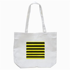Yellow Black Chevron Wave Tote Bag (white)