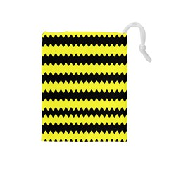 Yellow Black Chevron Wave Drawstring Pouches (medium)