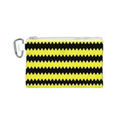 Yellow Black Chevron Wave Canvas Cosmetic Bag (s)