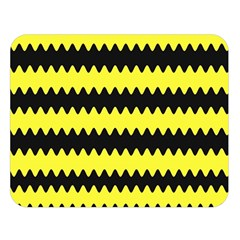 Yellow Black Chevron Wave Double Sided Flano Blanket (large)