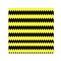 Yellow Black Chevron Wave Small Satin Scarf (square)