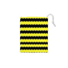 Yellow Black Chevron Wave Drawstring Pouches (xs)