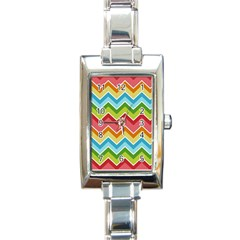 Colorful Background Of Chevrons Zigzag Pattern Rectangle Italian Charm Watch
