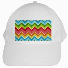 Colorful Background Of Chevrons Zigzag Pattern White Cap