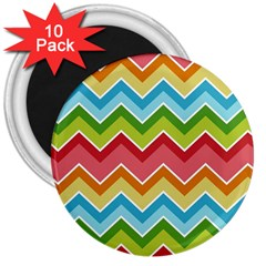 Colorful Background Of Chevrons Zigzag Pattern 3  Magnets (10 pack)