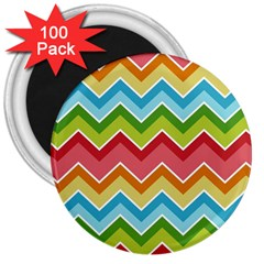 Colorful Background Of Chevrons Zigzag Pattern 3  Magnets (100 Pack)