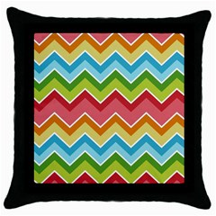 Colorful Background Of Chevrons Zigzag Pattern Throw Pillow Case (black)