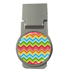 Colorful Background Of Chevrons Zigzag Pattern Money Clips (round)