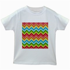 Colorful Background Of Chevrons Zigzag Pattern Kids White T Shirts