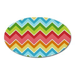 Colorful Background Of Chevrons Zigzag Pattern Oval Magnet