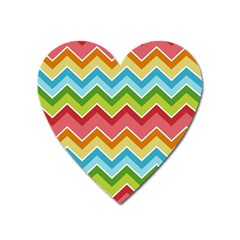 Colorful Background Of Chevrons Zigzag Pattern Heart Magnet