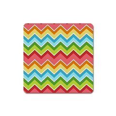 Colorful Background Of Chevrons Zigzag Pattern Square Magnet