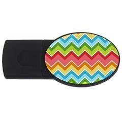 Colorful Background Of Chevrons Zigzag Pattern Usb Flash Drive Oval (2 Gb)