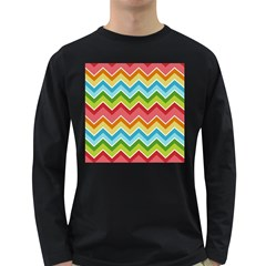 Colorful Background Of Chevrons Zigzag Pattern Long Sleeve Dark T Shirts