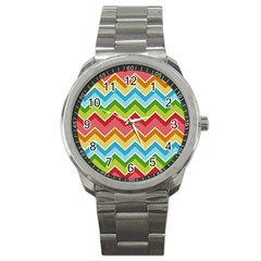 Colorful Background Of Chevrons Zigzag Pattern Sport Metal Watch