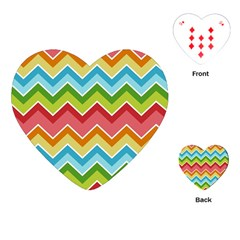 Colorful Background Of Chevrons Zigzag Pattern Playing Cards (heart)