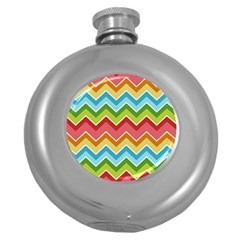 Colorful Background Of Chevrons Zigzag Pattern Round Hip Flask (5 Oz)
