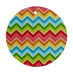 Colorful Background Of Chevrons Zigzag Pattern Round Ornament (two Sides)