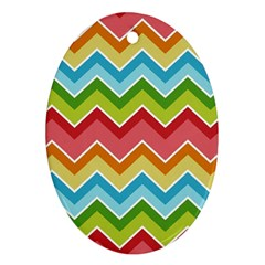 Colorful Background Of Chevrons Zigzag Pattern Oval Ornament (Two Sides)