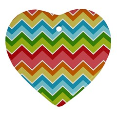 Colorful Background Of Chevrons Zigzag Pattern Heart Ornament (two Sides)