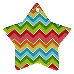 Colorful Background Of Chevrons Zigzag Pattern Star Ornament (two Sides)