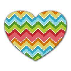 Colorful Background Of Chevrons Zigzag Pattern Heart Mousepads