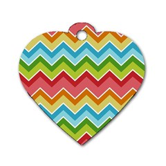 Colorful Background Of Chevrons Zigzag Pattern Dog Tag Heart (two Sides)