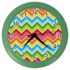 Colorful Background Of Chevrons Zigzag Pattern Color Wall Clocks