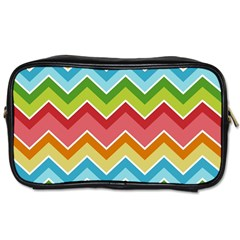 Colorful Background Of Chevrons Zigzag Pattern Toiletries Bags 2 Side