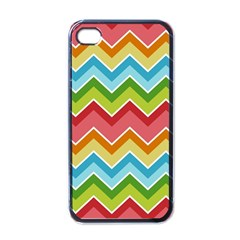 Colorful Background Of Chevrons Zigzag Pattern Apple Iphone 4 Case (black)
